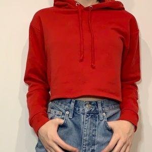 Red Women's Crop Hoodie